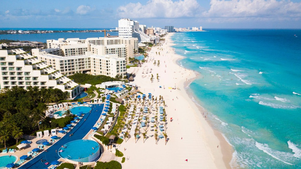 One of the beaches in Cancun, Mexico